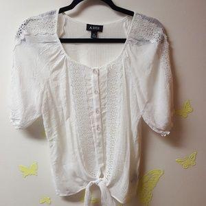 Bundle 2 white boho lace tops M, A. Byer and Aero